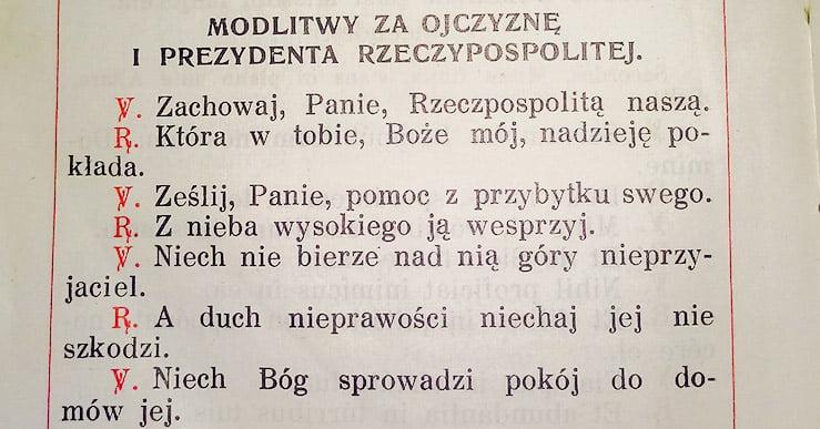 Modlitwy zaOjczyznę iPrezydenta Rzeczypospolitej